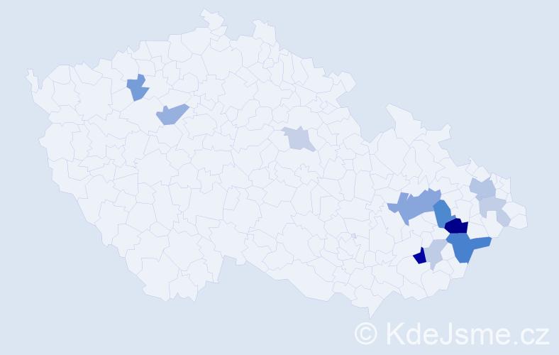 Příjmení: 'Hubník', počet výskytů 27 v celé ČR