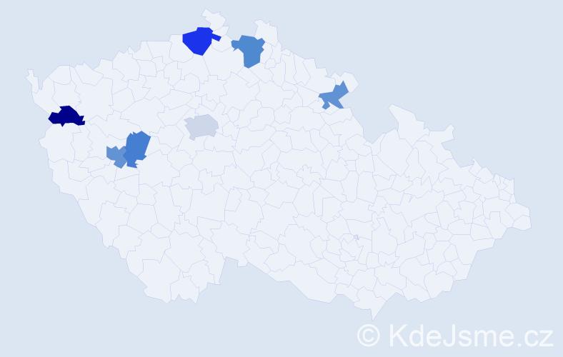 Příjmení: 'Cinkaničová', počet výskytů 11 v celé ČR