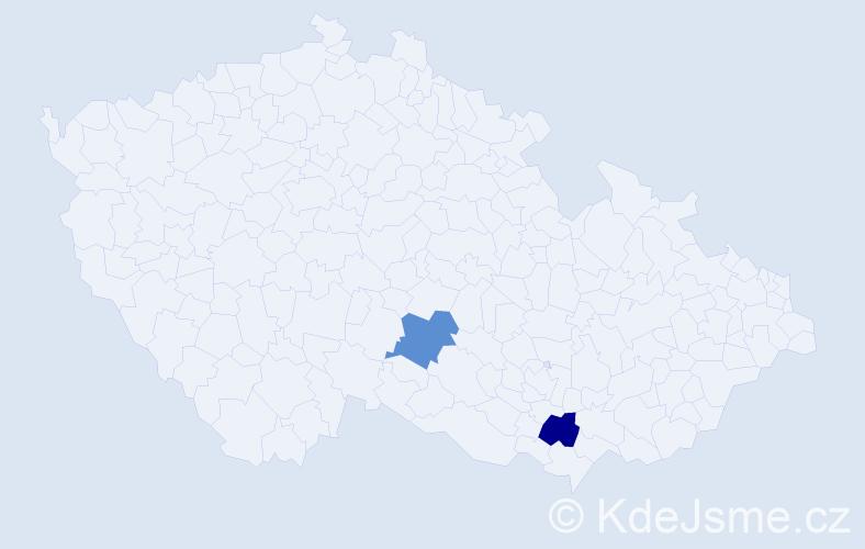 Příjmení: 'Ušpaková', počet výskytů 2 v celé ČR