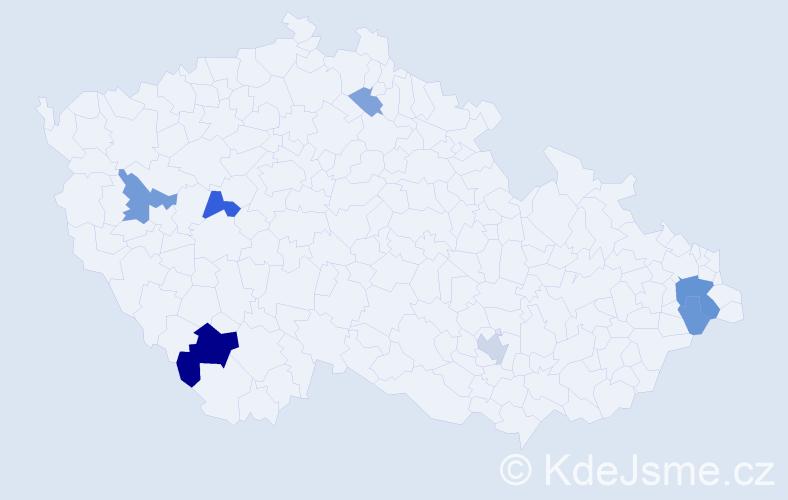 Příjmení: 'Kapraľ', počet výskytů 16 v celé ČR