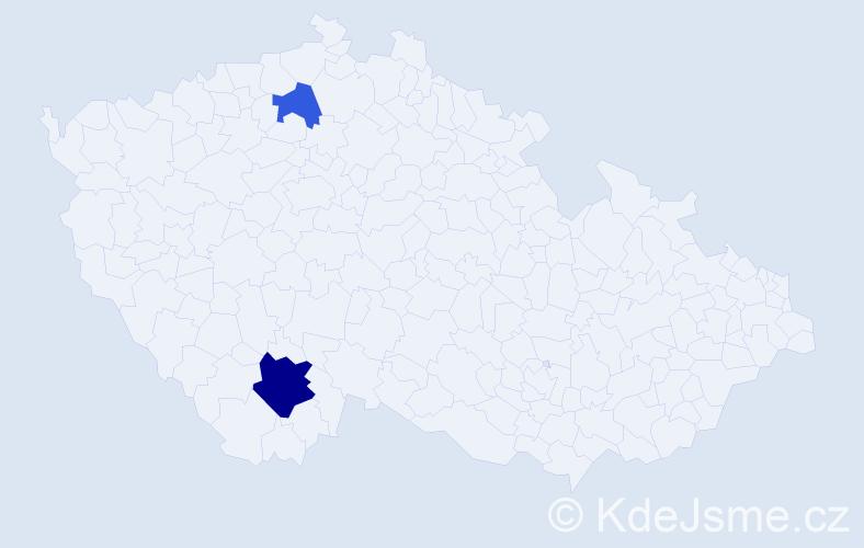 Příjmení: 'Jackovová', počet výskytů 8 v celé ČR