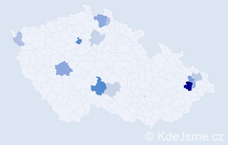 Příjmení: 'Dulák', počet výskytů 26 v celé ČR