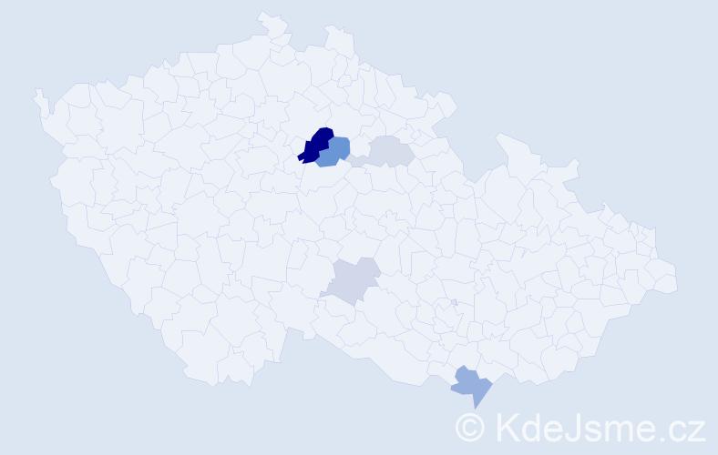 Příjmení: 'Fábin', počet výskytů 13 v celé ČR