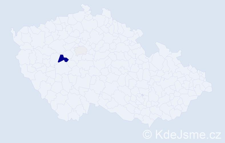 Příjmení: 'Hegen', počet výskytů 4 v celé ČR