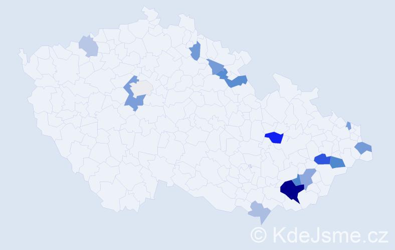 Příjmení: 'Hyjánek', počet výskytů 33 v celé ČR