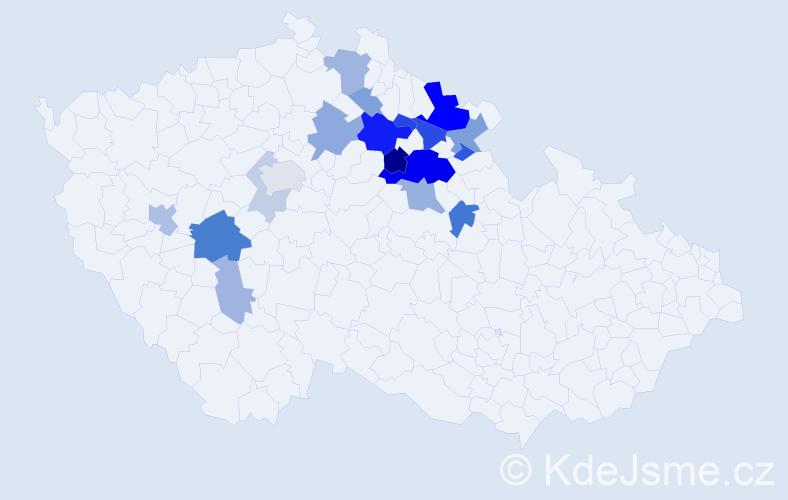 Příjmení: 'Etrychová', počet výskytů 48 v celé ČR
