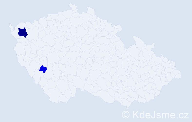 Příjmení: 'Dobozi', počet výskytů 8 v celé ČR