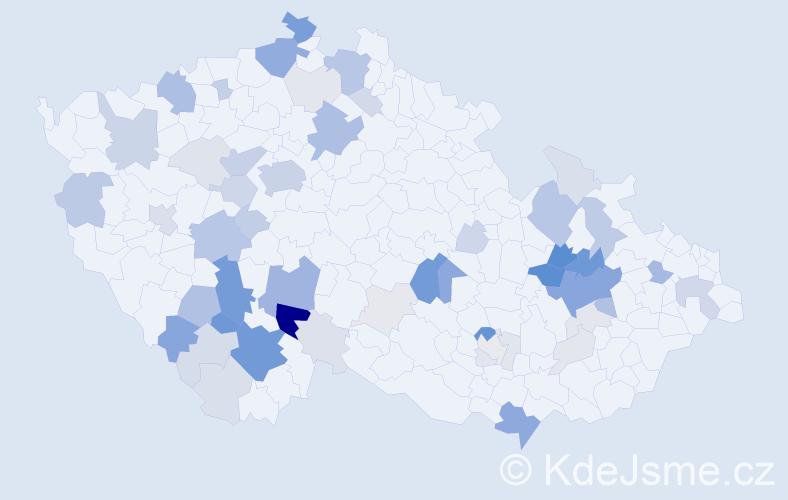 Příjmení: 'Koloušek', počet výskytů 198 v celé ČR