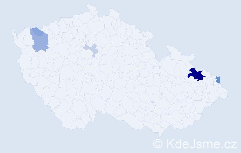 Příjmení: 'Bakša', počet výskytů 20 v celé ČR