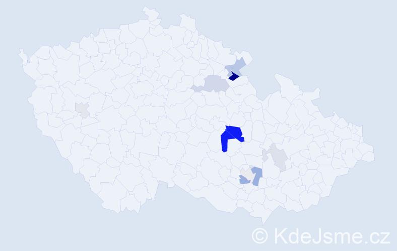 Příjmení: 'Krejsek', počet výskytů 22 v celé ČR