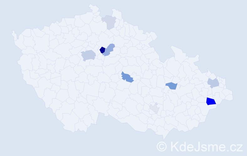 Příjmení: 'Frištenský', počet výskytů 24 v celé ČR