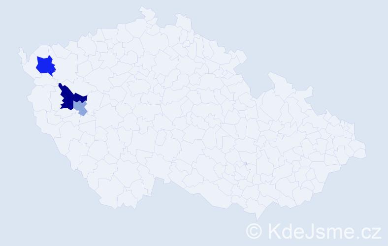 Příjmení: 'Čuchorová', počet výskytů 5 v celé ČR