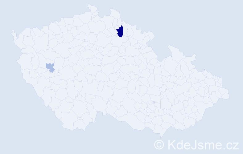 Příjmení: 'Ďuris', počet výskytů 5 v celé ČR