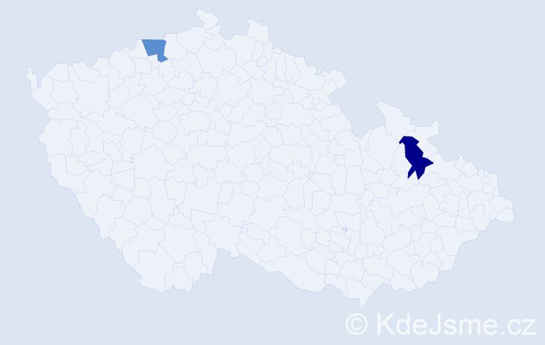 Příjmení: 'Gorcsakovzká', počet výskytů 2 v celé ČR