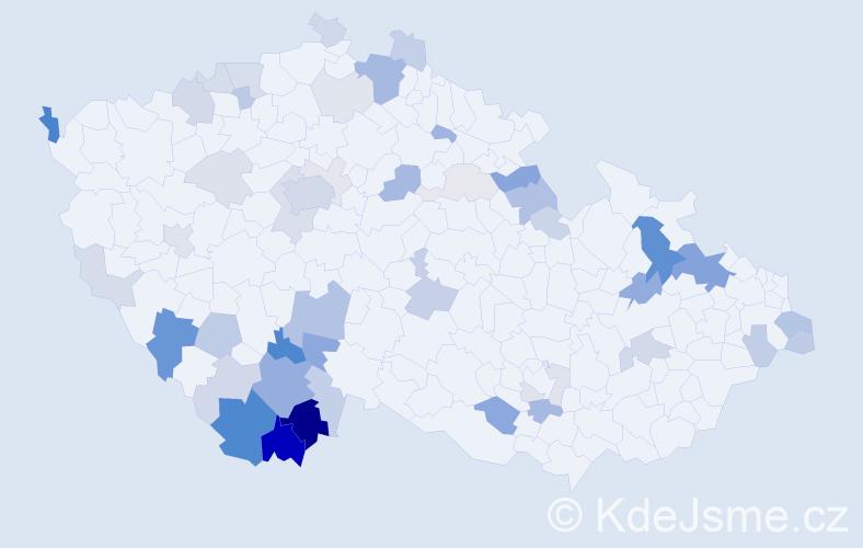 Příjmení: 'Děkan', počet výskytů 137 v celé ČR
