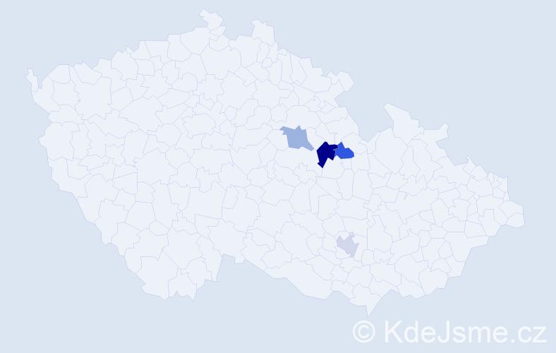 Příjmení: 'Bogapovová', počet výskytů 5 v celé ČR