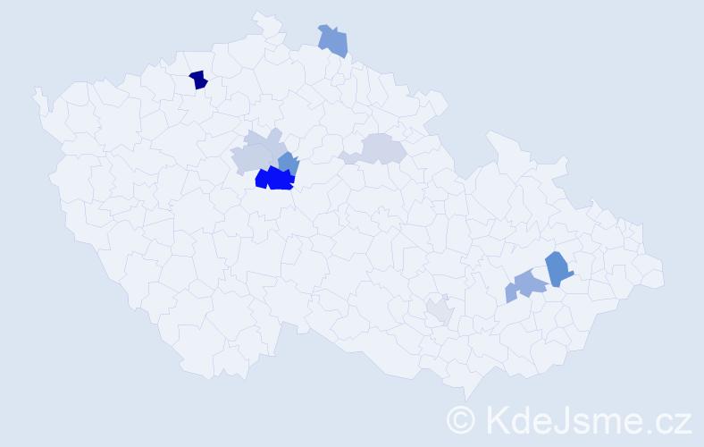 Příjmení: 'Čejkovská', počet výskytů 26 v celé ČR
