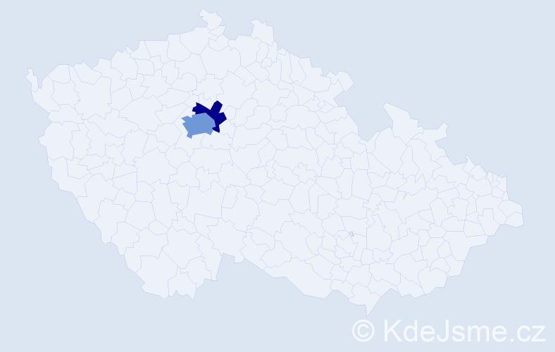 Příjmení: 'Adla', počet výskytů 4 v celé ČR