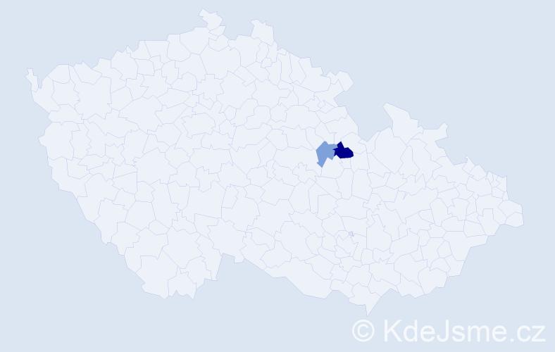 Příjmení: 'Demester', počet výskytů 8 v celé ČR