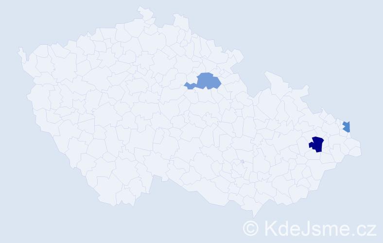 Příjmení: 'Dendiš', počet výskytů 7 v celé ČR