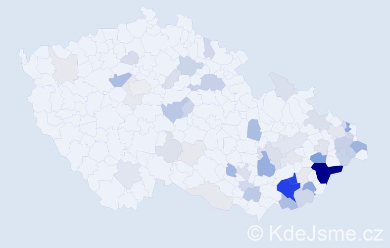 Příjmení: 'Hučíková', počet výskytů 169 v celé ČR