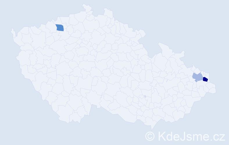 Příjmení: 'Kráľovič', počet výskytů 9 v celé ČR