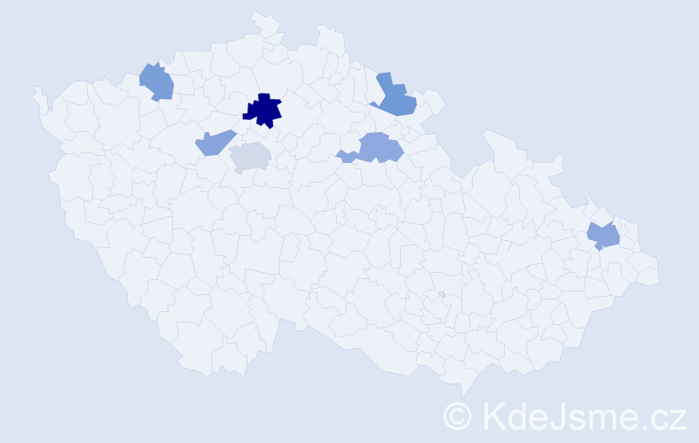 Příjmení: 'Čakajda', počet výskytů 10 v celé ČR