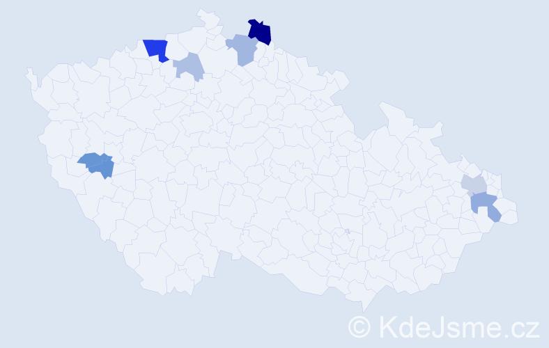 Příjmení: 'Gittler', počet výskytů 19 v celé ČR