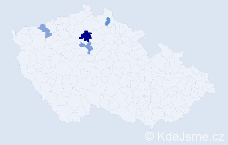 Příjmení: 'Bezányi', počet výskytů 9 v celé ČR