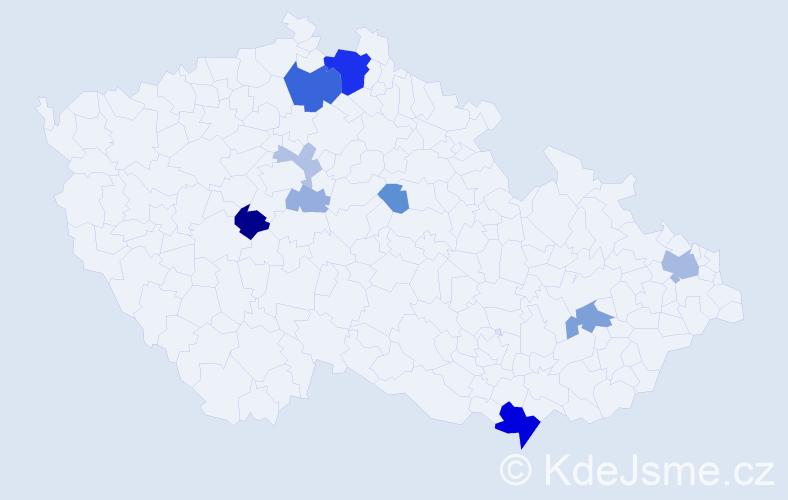 Příjmení: 'Knejzlíková', počet výskytů 26 v celé ČR