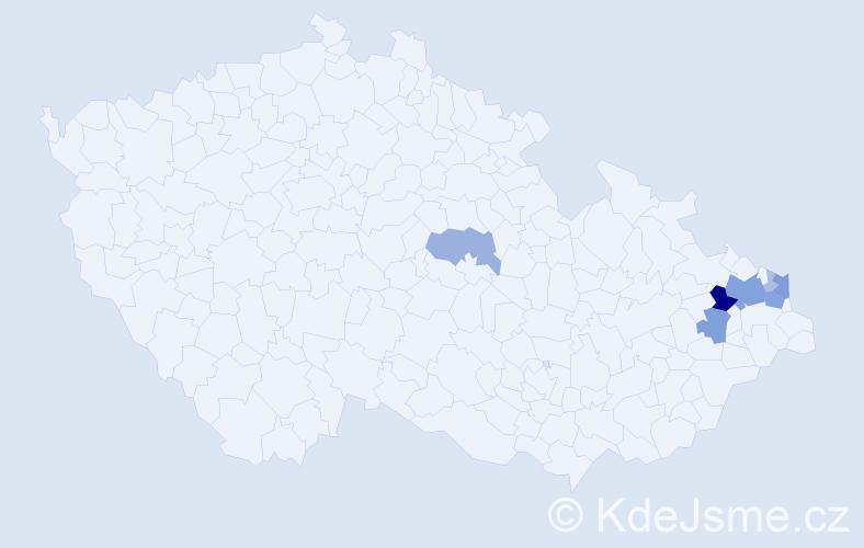 Příjmení: 'Barnošáková', počet výskytů 23 v celé ČR