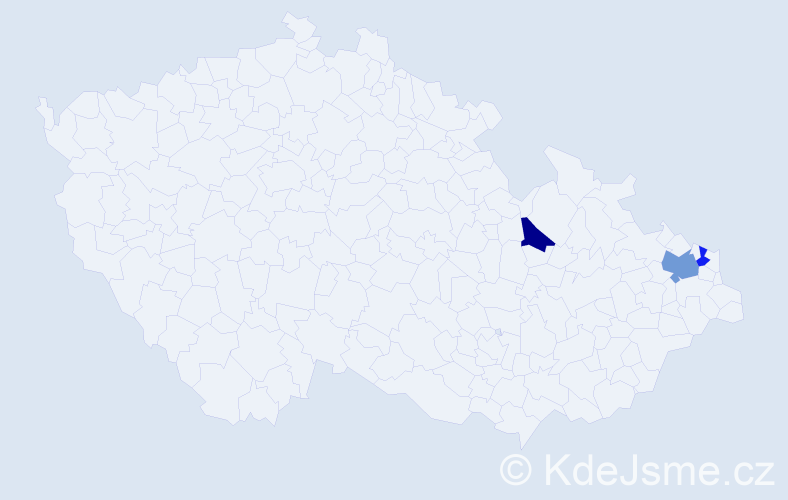 Příjmení: 'Bilo', počet výskytů 4 v celé ČR