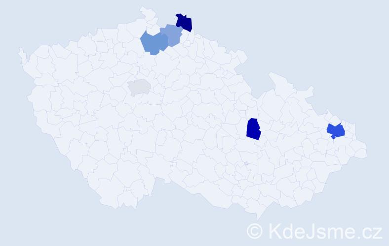 Příjmení: 'Čemová', počet výskytů 10 v celé ČR