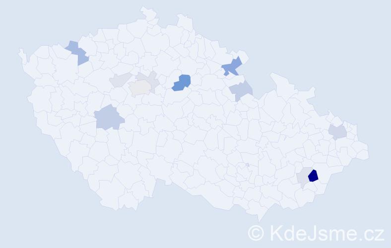 Příjmení: 'Isák', počet výskytů 28 v celé ČR