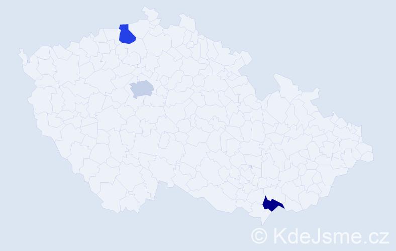 Příjmení: 'Ivković', počet výskytů 3 v celé ČR