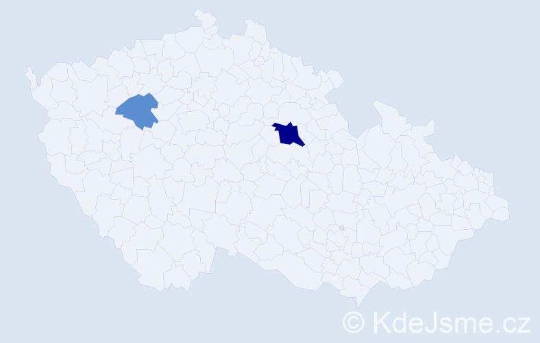 Příjmení: 'Čaladi', počet výskytů 5 v celé ČR