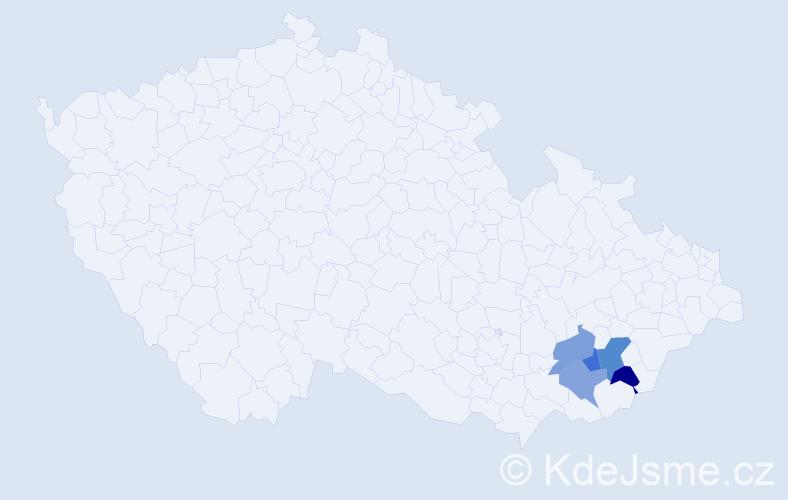 Příjmení: 'Čuč', počet výskytů 6 v celé ČR