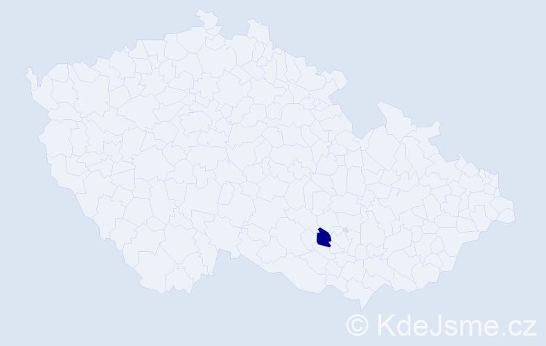 """Příjmení: '""""Kachlíková Müllerová""""', počet výskytů 1 v celé ČR"""
