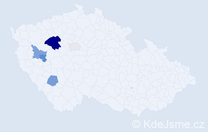 Příjmení: 'Hekr', počet výskytů 11 v celé ČR