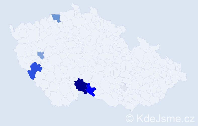 Příjmení: 'Hejlíček', počet výskytů 21 v celé ČR