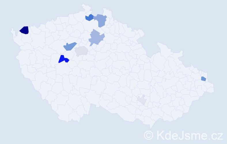 Příjmení: 'Bomba', počet výskytů 25 v celé ČR