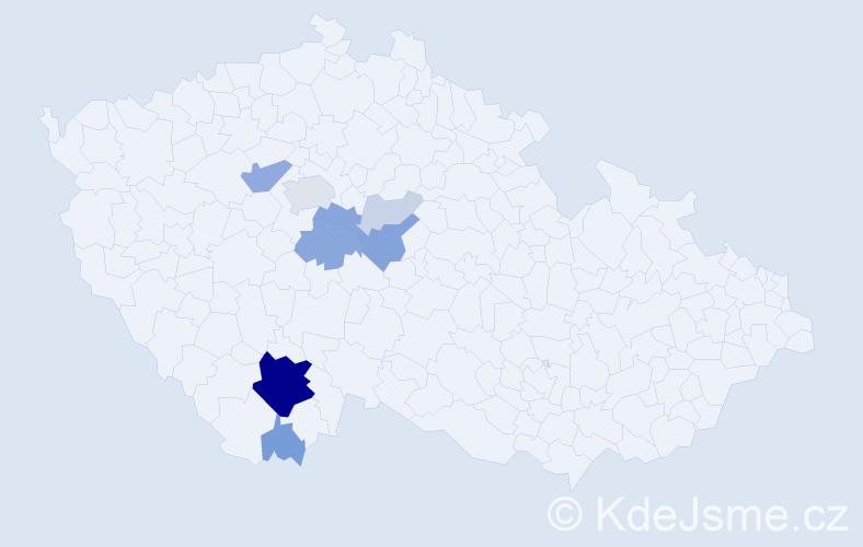 Příjmení: 'Dejčmar', počet výskytů 33 v celé ČR