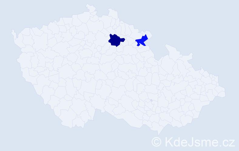 Příjmení: 'Chadwick', počet výskytů 4 v celé ČR