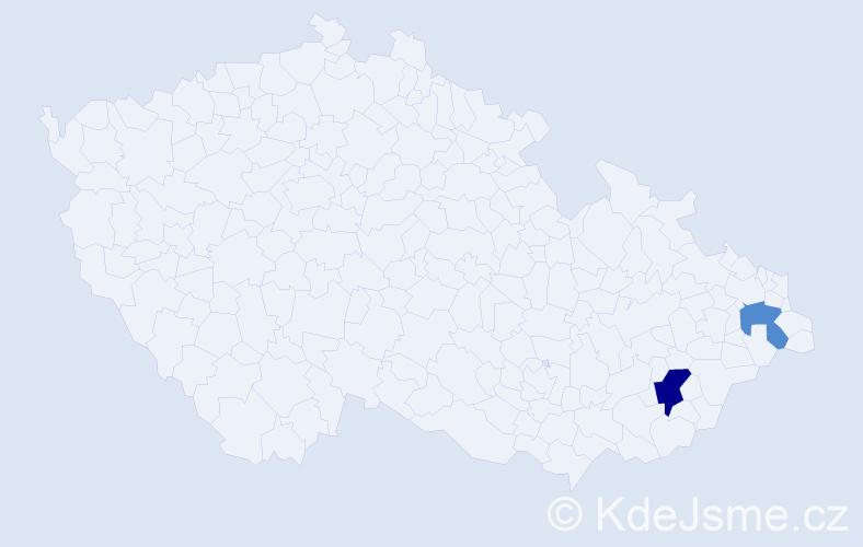 Příjmení: 'Dudomai', počet výskytů 3 v celé ČR