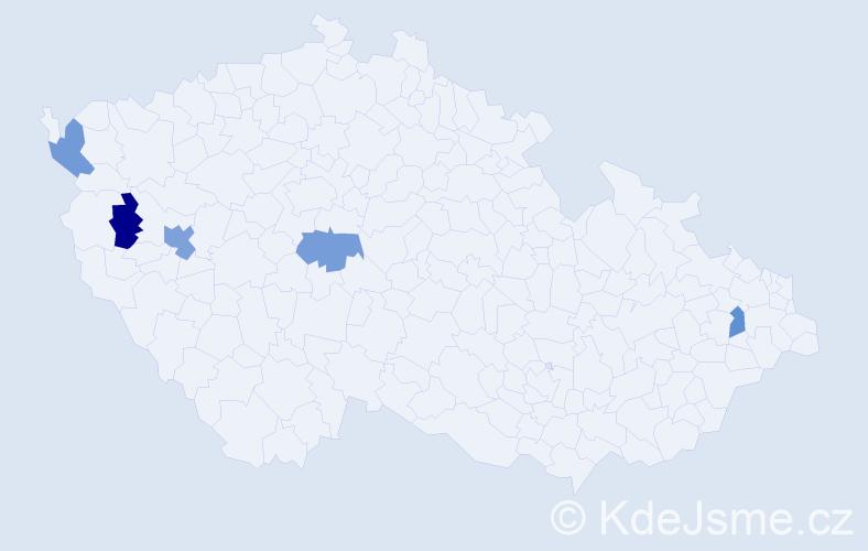 Příjmení: 'Hufeisl', počet výskytů 6 v celé ČR