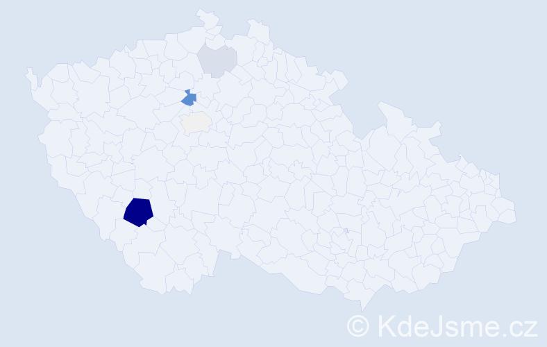 Příjmení: 'Důchodní', počet výskytů 20 v celé ČR