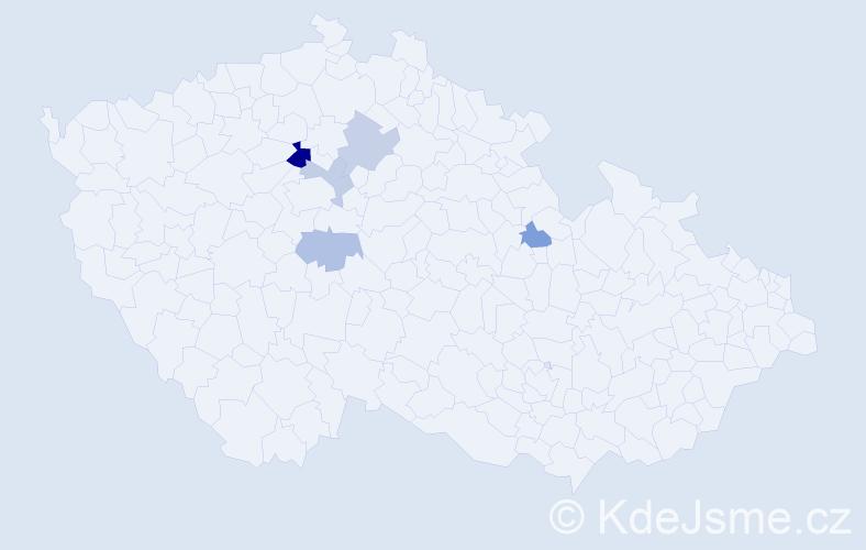 Příjmení: 'Kepplová', počet výskytů 8 v celé ČR