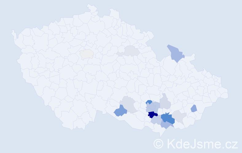 Příjmení: 'Langášková', počet výskytů 45 v celé ČR