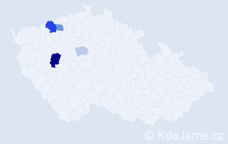 Příjmení: 'Elšlégrová', počet výskytů 8 v celé ČR