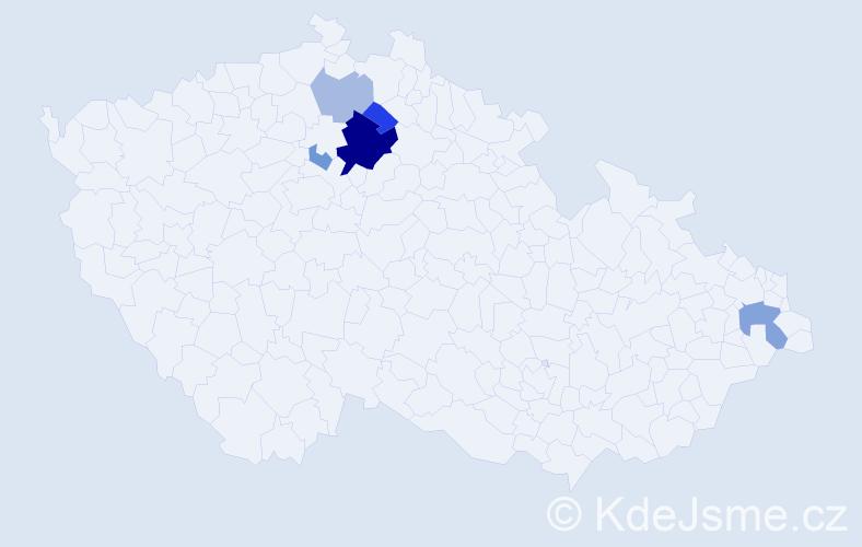 Příjmení: 'Ďurfina', počet výskytů 13 v celé ČR